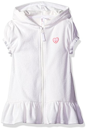 (Pink Platinum Toddler Girls' Hooded Terry Swim Cover Up, White,)