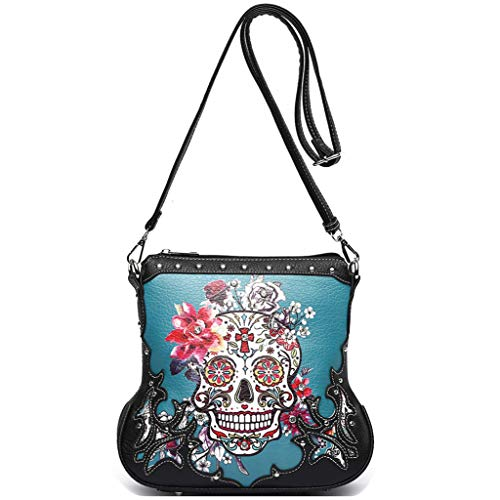 Sugar Skull Rose Flower Day of the Dead Concealed Carry Purse Women Crossbody Handbag Single Shoulder Bag (Teal)