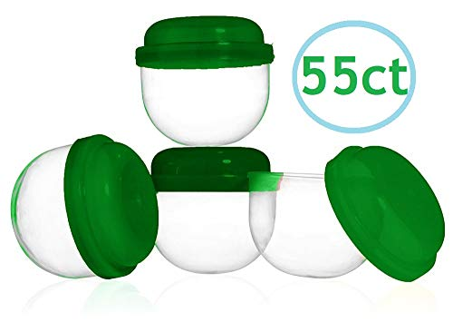 2 Inch EMPTY ACORN CAPSULES, Tops and Bottoms - 55CT (GREEN), For Vending, Arts and Crafts Projects, Treasure Hunts, Parties, DIY BATH BOMBS, and more. (Rings Vending Capsules)