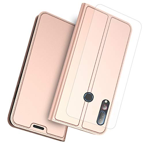 (Flip Wallet Case for Case Compatible with Flip Case Shock Protection with Card Slots Lightweight Surface and Adjustable Stand Rose Gold)