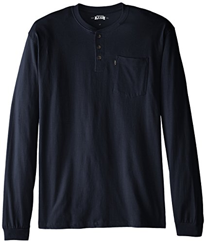 Big And Tall Cotton Henley (Key Apparel Men's Big-Tall Heavyweight 3-Button Long Sleeve Henley Pocket T- Shirt, Navy,)