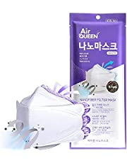 AIRQUEEN - Paquete de 10 cubrebocas auténticos de 3 capas con nanofiltro para adultos, empacados individualmente, hechos en Corea del Sur