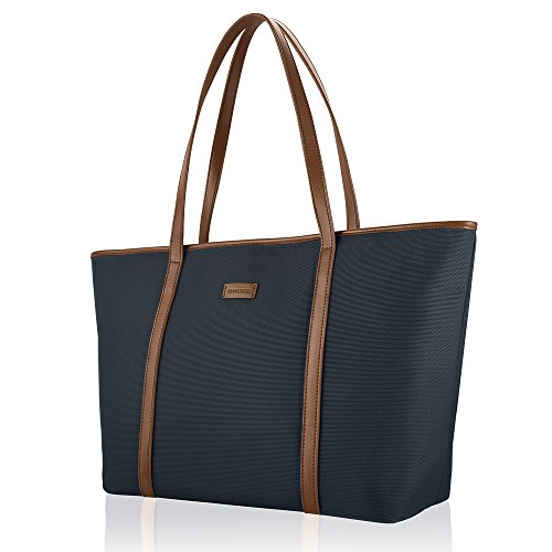 - CHICECO Basic Large Travel Tote Shoulder Bag for Women - Blue + Brown/20.5 Length