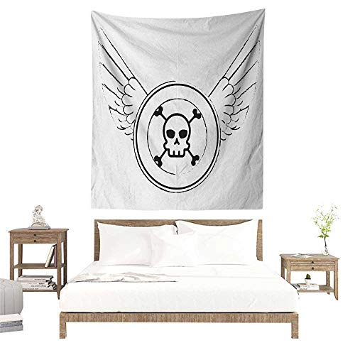 Meikxf Skull Decorative Tapestry Grungy Old Icon Stamp Design Skull Figure in Circle with Angel Wings Monochrome Literary Small Fresh 60W x 91L INCH Black and White -