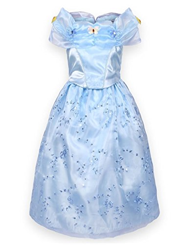 Cinderella Halloween Costume 2016 (Sophiashopping 2015 Princess Cosplay Dress Halloween Party Costumes Custom Gor children 130cm Gor Kids Girls 3-7 Years)