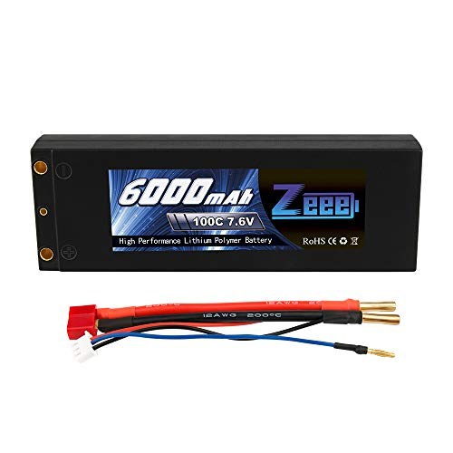 Zeee 6000mAh 2S 7.6V 100C High-Voltage Hardcase RC Lipo Batteries Pack with Dean-Style T Connector for RC 1/8 1/10 Scale Vehicles Car,Trucks,Boats(4mm Bullet) (Battery Style Lipo)