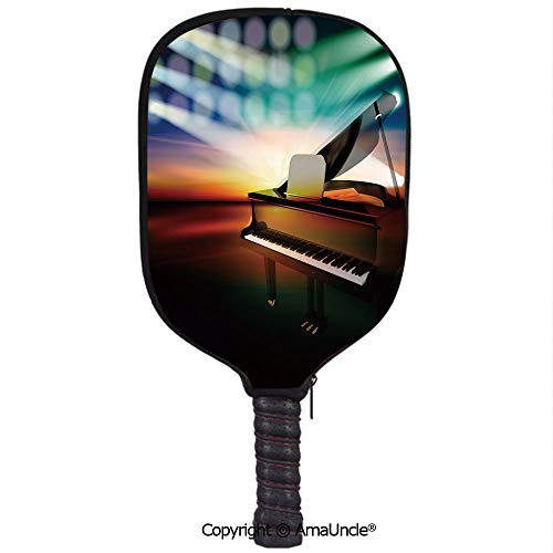 SCOXIXI 3D Pickleball Paddle Racket Cover Case,Grand Piano on Music Stage Abstract Colorful Concert InstrumentCustomized Racket Cover with Multi-Colored,Sports Accessories