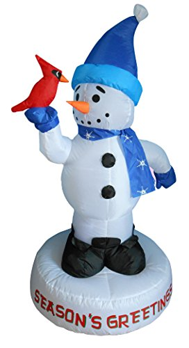 4 Foot Christmas Inflatable Snowman with Bird Yard Decoration by BZB Goods