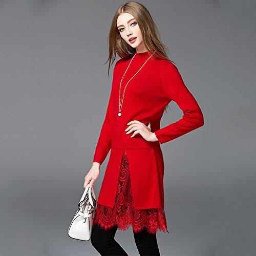medio pizzo inverno abito rosso lungo Liuxc abito Abito abito lunghezza autunno 6qCwIwExO