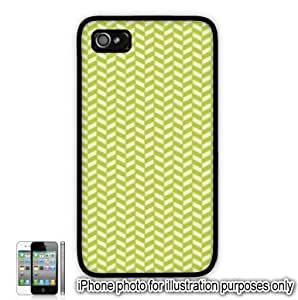 Lime Green Yellow Herringbone Print Pattern Apple iPhone 4 4S Case Cover Skin Black