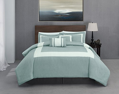 Green Stripe Background - Forte 5 Piece Queen Size Comforter Set Aqua, Green Background with Ivory, Stripe Bed Cover Set