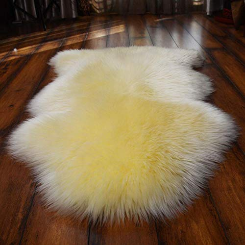 FURPADS Genuine Australia Natural Sheepskin Rugs Sumptuous High-Density Wool Texture fine and Smooth Skin-Friendly Soft Lambskin - 110 Wool Rug Beige