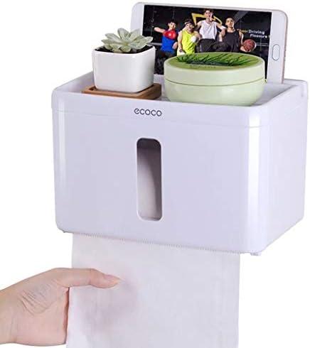 GYCOZ Tissue Box Haushalts Badezimmer-Gewebe-Kasten-Toilettenpapier-Wasserdichtes Papierkasten Kleine Rack-freies Stanzen Montage Tissue Box Cover Gesicht