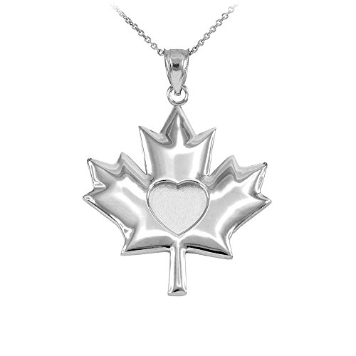 Canadian Jewelry (14k White Gold Canadian Heart Maple Leaf Pendant Necklace, 18