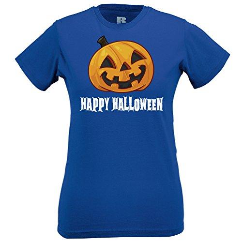Felice Halloween Sorridente regalo costume spaventoso divertente Pumpking Viso T-Shirt Da Donna