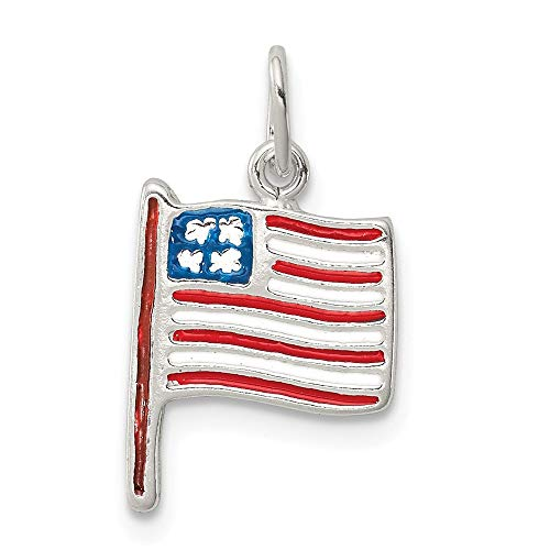 Jewelry Pendants & Charms Themed Charms Sterling Silver Polished Enamel American Flag Pendant ()