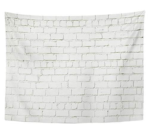 Emvency Tapestry Polyester Fabric Print Home Decor Abstract White Brick Wall Restoring Old Brickwall Color Grunge with Copy Space Wall Hanging Tapestry for Living Room Bedroom Dorm 60x80 -