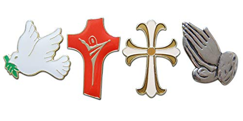 Novel Merk 4-Piece Religious Mixed Crosses, Praying Hands, Dove Lapel or Hat Pin & Tie Tack Set with Clutch Back