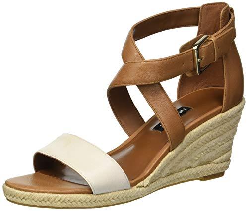 (Nine West Women's JORGAPEACH Leather Wedge Sandal, Dark Natural, 7 M US)