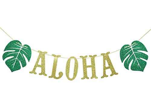 Hawaiian Aloha Banner Decorations with Palm Leaves Garland for Hawaiian Tropical Luau Beach Summer Party Supplies Decor Favors Bunting Photo Booth Props Sign (Gold & Green Glittery) ()