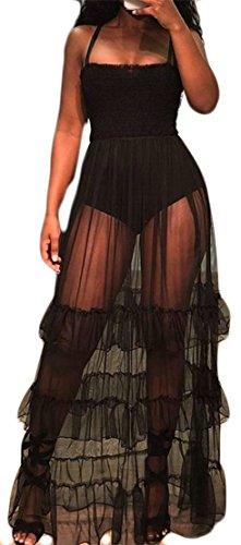 Black Mesh Dresses Women Spaghetti Transparent Strap Sexy Swing Ruffled Cromoncent wXzRvq7xv