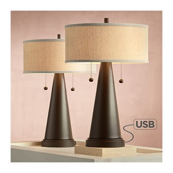 """Craig Mid Century Modern Accent Table Lamps Set of 2 with Hotel Style USB Port Bronze Metal Natural Linen Drum Shade for Bedroom - Franklin Iron Works - Set of 2 table lamps. Each is 23"""" high. Round bases are 7"""" wide. Drum shades are 15"""" wide x 6 3/4"""" high. Weighs 8.8 lbs each. Each takes two maximum 60 watt standard base bulb (not included). Double pull chain socket. Set of 2 rustic farmhouse table lamps featuring USB ports. From the Franklin Iron Works brand. - lamps, bedroom-decor, bedroom - 41ch1zsHU L. SS570  -"""