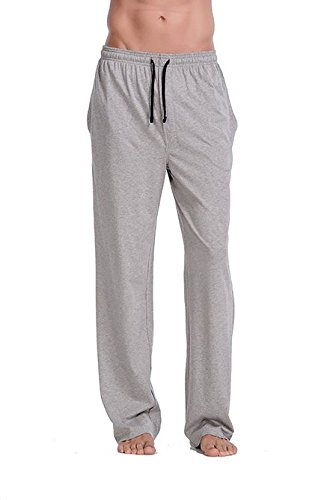 CYZ Comfortable Jersey Cotton Knit Pajama Lounge Sleep Pants -Melange Grey-L