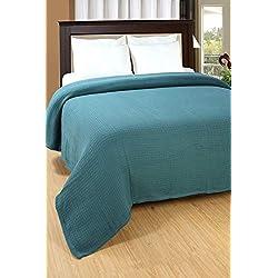 DREAM CASTLE Premium 100% Cotton Texture Blanket ; Soft & Cozy ; Perfect Layering ; Range Colors (Teal, Twin)