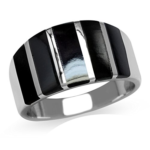 - 5-Stone Created Black Onyx Inlay White Gold Plated 925 Sterling Silver Ring Size 9