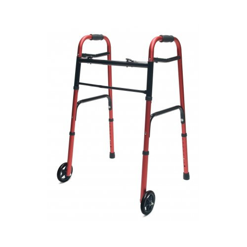 Lumex ColorSelect Adult Walker with Wheels - EVERYDAY WALKER W/ 5'' WHEELS DUAL RELEASE RED 1EA - 716270R-1