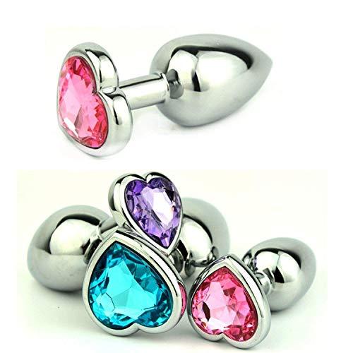 Uredy Shirt Sixs Women Small Size Heart Shaped Stainless Steel Crystal Jewelry Plug Plug Tail Sixs Balls,Light Blue -