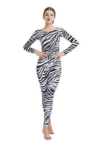 Full Bodysuit Womens Long Sleeve One Piece Jumpsuit Lycra Spandex Zentai Unitard (Large, Zebra) -