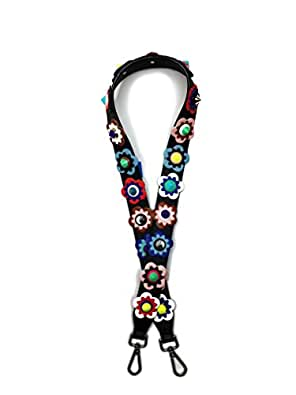 Floral and Studded Bag Strap - Replacement Purse Guitar Strap for Crossbody and Shoulder handbags (Multi Floral)