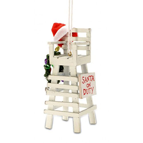 Tropical Beach Lifeguard Santa Christmas Tree Ornament