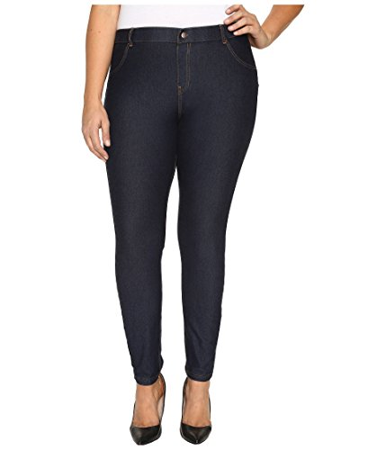 HUE Women's Plus Size Essential Denim Leggings, Deep Indigo Wash, XXL
