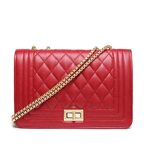 Hurber Women's Quilted Casual Twist Lock Clutch Bag Purse Prom Handbag Party Bag Chain Strap Shoulder Satchel Handbags (Red)