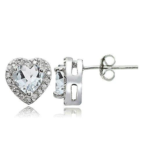 Heart Shaped Aquamarine Earrings - 9