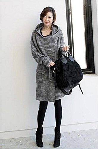Cardigan Femme Femmes Gilet Pull manches Manteau YOGLY Strickjacke Veste en Casual Grau tricot Pull xqPw5
