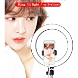 14'' LED Video Ring Light With Mirror, 6Ft Stand Tripod, Adjustable Heavy Duty Mount For DSLR, Iphone & Android Smartphones - Professional Studio Photography Dimmable Lighting Kit For Makeup & Youtube