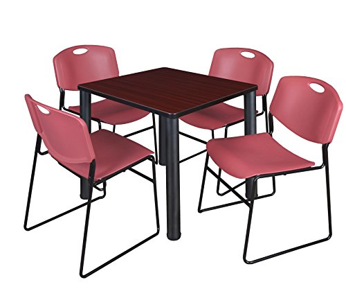 """Kee 30"""" Square Breakroom Table- Mahogany/ Black & 4 Zeng Stack Chairs- Burgundy"""