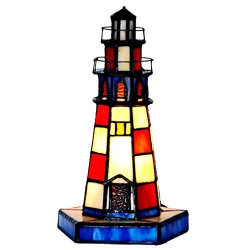 ChuanHan Tiffany Style Desk Lamp/Reading Light, 7 inch Creative Lighthouse/Glass Decorative Table Light, Children's Room Fun Night Light, E27, Max15W