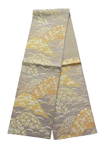 花瓶統合するチョコレートリサイクル 袋帯 正絹 六通  遠山に四季花や雪芝文