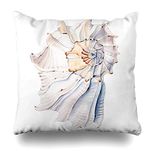 Ahawoso Throw Pillow Cover Nautilus Blue Marine Watercolor Sea Shells Nature Beach Breeze Abstract Tropical Seashell Water Decorative Cushion Case Square 16