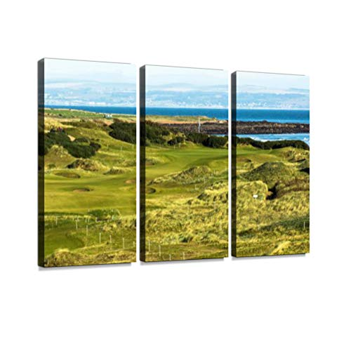 7houarts Kingsbarns Golf Links Canvas Wall Artwork Poster Modern Home Wall Unique Pattern Wall Decoration Stretched and Framed - 3 Piece