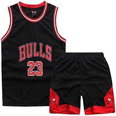 Sokaly Niños Chicago Bulls Jorden # 23 Curry#30 James#23 Conjunto de Camiseta de Baloncesto Chaleco & Pantalones Cortos Cómodo para Chicos y Hombres (XXL(150-165), Negro): Amazon.es: Deportes y aire libre