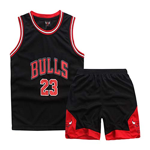 Onlyso Little Boys 2-Piece Basketball Performance Tank Top and Shorts Set (M(5), Black)