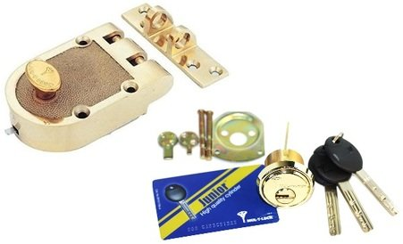 Mul-T-Lock Economic Junior Jimmy proof Rim Cylinder Deadlock 3 Keys With  Card Included (Bright Brass)