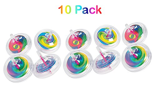 Plastic Swirl Spin Tops - Pack Of 10 - 2.25 Inches Assorted Cool Transparent Spiral Design Spin Top - For Kids Great Party Favors, Bag Stuffers, Fun, Toy, Gift, Prize - By Kidsco