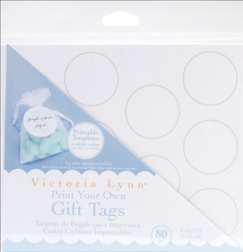 Darice VL295 Printable Round Gift Tag with Pearl Accent, 80 Per Pack, White/Silver]()