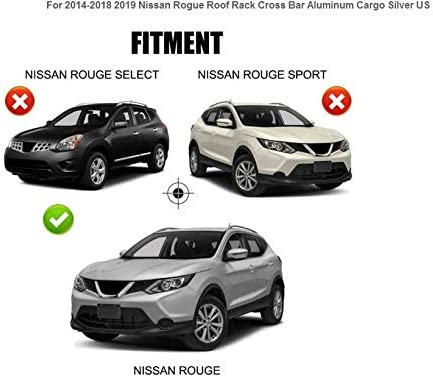 Diking OE Style Roof Rack Cross Bars for 2014 2015 2016 2017 2018 2019 Nissan Rogue Silver